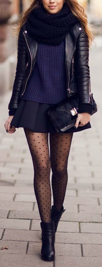 Blue Sweater. Dark Skirt. Black Tights. Black Booties. Black Moto-Jacket. Black Scarf.