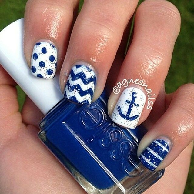 Blue and White Chevron Nautical Nails With Silver Glitter and Anchor⚓