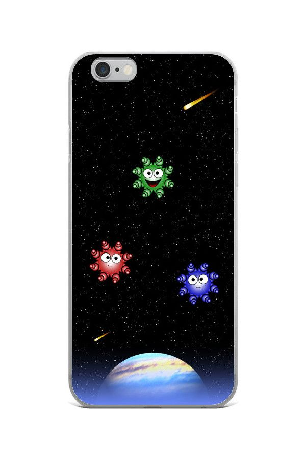 Cute Aliens - iPhone 6/6s Case: • Hybrid Thermoplastic Polyurethane (TPU) and Polycarbonate (PC) material • Solid polycarbonate back • Flexible see-through polyurethane sides • Precisely aligned cuts and holes • 0.5 mm raised bezel • Printed in the USA