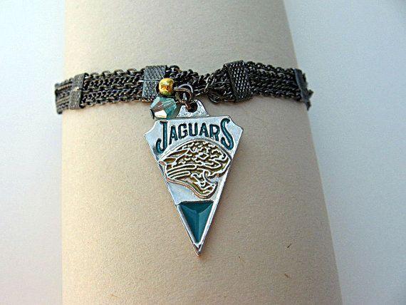 NFL Jacksonville Jaguars Football Bracelet by  SportsJewelryStudio on Etsy.  etsy.com/shop/sportsjewelrystudio