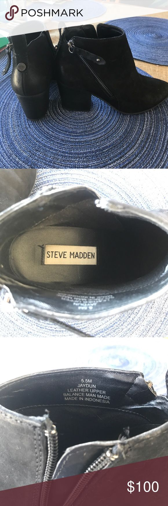 Steve Madden Booties Selling Steve Madden booties! Only worn twice.  Size 5.5. Leather.  Light scuffs on toes and sides. Steve Madden Shoes Ankle Boots & Booties