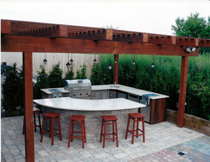 Pergola with Complete Outdoor Kitchen - Gasparini Landscaping