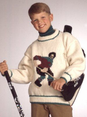 With multiple sizing options for growing boys and girls, the Classic Sports Pullovers are sure to become your little athlete's favorite knit sweater pattern. These timeless pullovers feature three different sports figures: a baseball player, a football player, and a hockey player. Perfect for your active player, the Classic Sport Pullover is easy to customize in his or her favorite team colors.