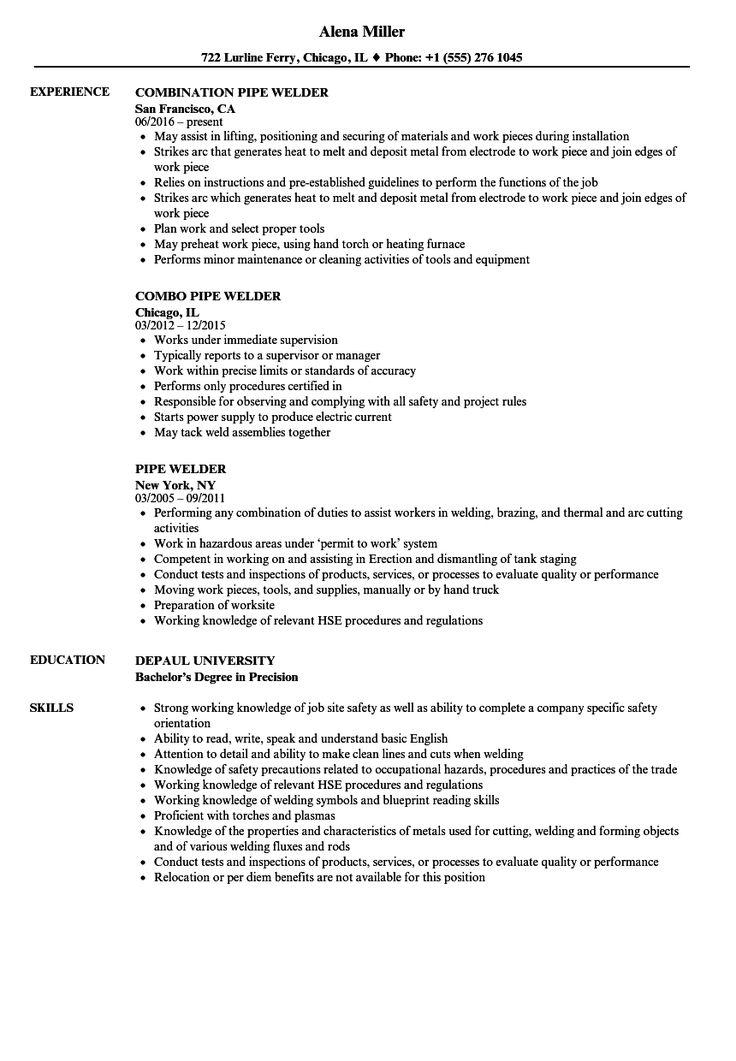 Sample Welding Resume Sample in 2020 Resume examples