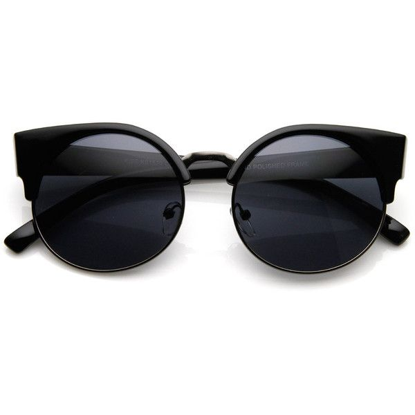 Vintage Indie Round Circle Cat Eye Sunglasses 8785 (£13) ❤ liked on Polyvore featuring accessories, eyewear, sunglasses, glasses, jewelry, black, vintage round sunglasses, circular sunglasses, circle sunglasses and cat eye glasses