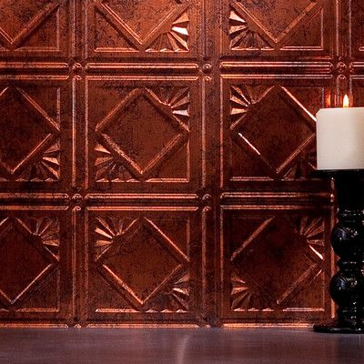 "Fasade Traditional 18.25"" x 24.25"" PVC Backsplash Panel Kit in Moonstone Copper"