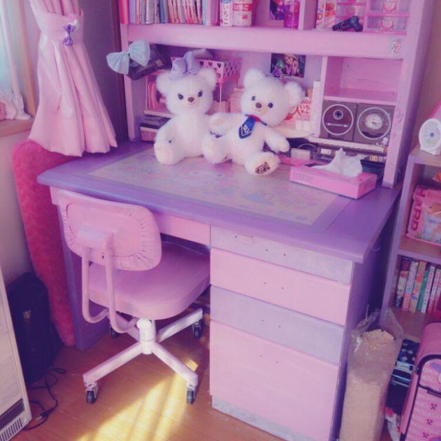 kawaii japan pink my melody desk mizuhoさんの、ペンキ塗り,100均,ピンク ,ムラサキ,My Desk,のお部屋写真