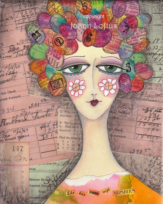 Mixed Media Art Print - Whimsical Girl Colorful Hair - She Has Trouble With Numbers. I Love This! Joann Loftus.