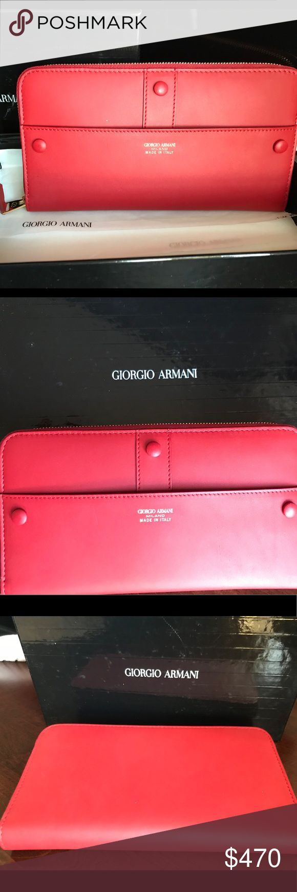 Authentic leather GIORGIO ARMANI accordion wallet. Authentic leather GiORGIO ARMANI  Accordion wallet Multifunctional 12credit cards slots 2 Full bill slots Middle Zip  NEW in Original Box  New with Tags  Retail:$675 giorgio armani Bags Wallets