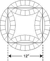 """Double Wedding Ring templates.  Finished circular design is approximately 17"""" across. Includes yardage for quilts in multiple sizes. Comes with a 28-page instruction booklet for using the templates, cutting fabrics, scalloped binding, and a method for sewing curved seams that can be applied to other patterns with curved seams, like Winding Ways. Choose pieced arc style or single arc.  http://www.frommarti.com/dwr.shtml"""