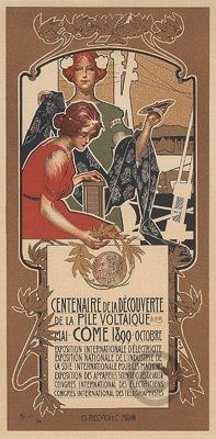 """Centenaire Pile Voltaique poster by Hohenstein. Printer: Chaix Printing method: Lithography Size (margin included): 11"""" x 15.4"""" (28 x 39 cm)"""
