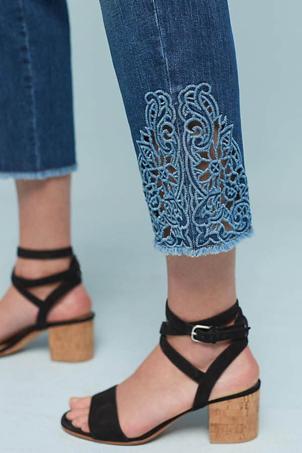 Slide View: 6: Joe's Smith Mid-Rise Embroidered Cutout Cropped Jeans