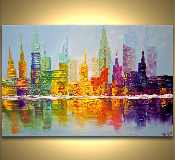 Title City Skyscrapers Size: 36x24x1.5 ready to hang Medium: Acrylic on a wrapped stretched canvas, palette knife Colors: Colorful