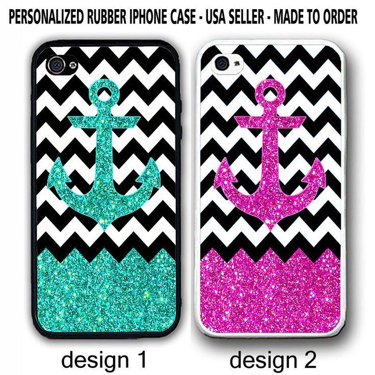 MINT PINK ANCHOR (NO GLITTER) BW CHEVRON MONOGRAM CASE For iPhone 7 6S 6 SE 5S 5 #UnbrandedGeneric