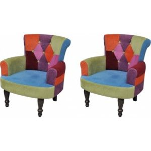 Ik vond dit op Beslist.nl: Lappendeken stoel in Franse stijl met armleuning (2 stuks)