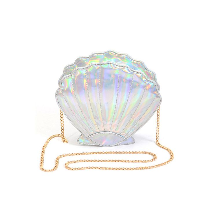 Adorable little mermaid inspired iridescent seashell clutch. * 9.25W*8.25H*2.75D * Polyurethane, mixed metal Weight 0.89 lbs