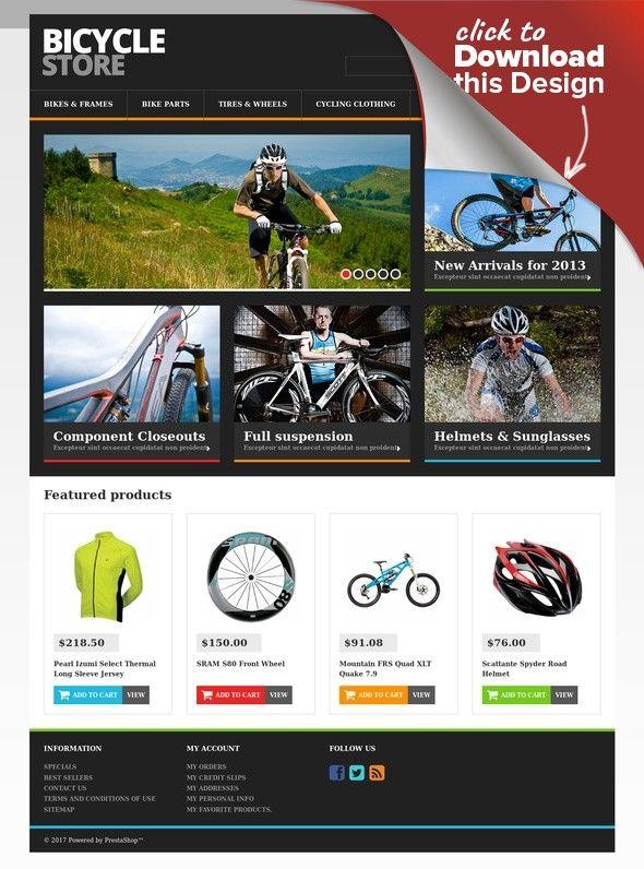 Responsive Bicycle Store PrestaShop Theme E-commerce Templates, PrestaShop Themes, Sports, Outdoors & Travel, Sport Templates, More Sports, BMX Templates