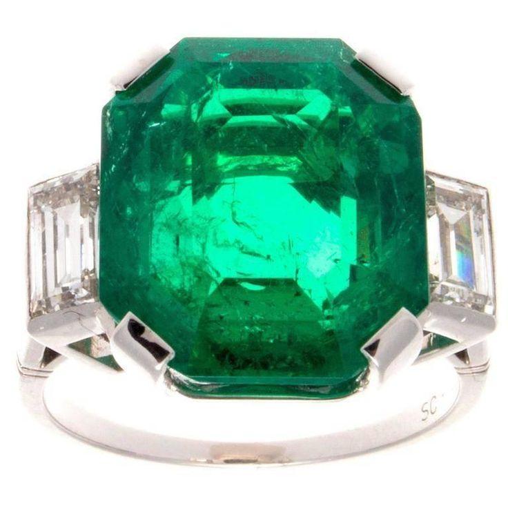 Important 10.03 Carat Colombian Emerald Diamond Platinum Ring