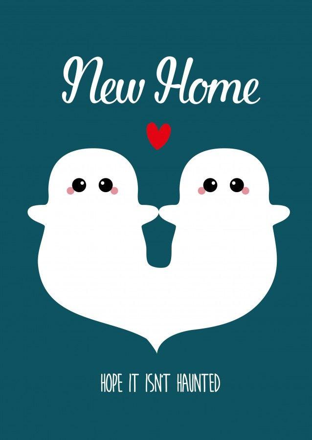 Postkaart new home ghosts Postkaart new home hope it isn't haunted is een grappige kaart met spookjes. Deze kaart kun je iedereen sturen die pas een nieuw huis heeft gekocht of ergens nieuw is gaan samenwonen.