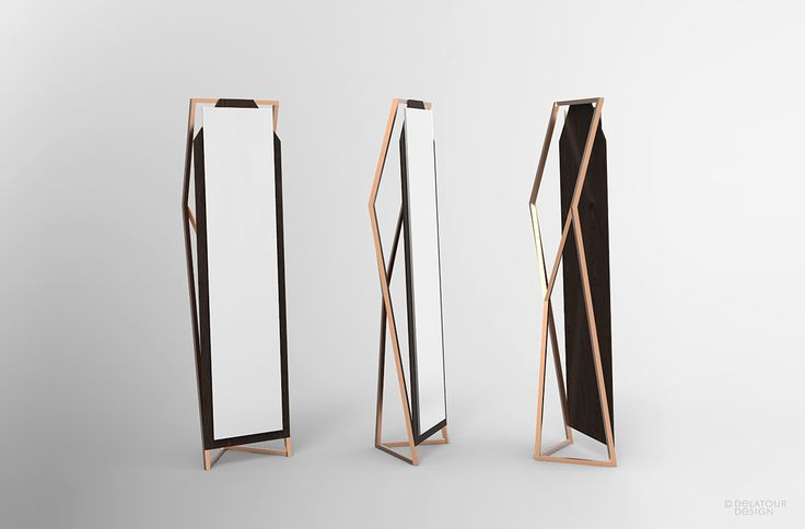 Miroir en pied. cuivre et bois by Jimmy Delatour. Standing mirror. Copper and wood. www.delatourdesignlab.com Furniture design, design de mobilier.