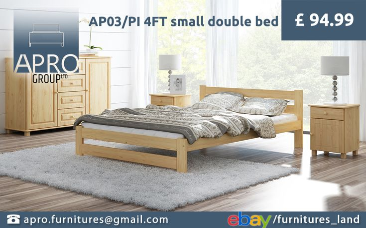#4FT Small #Double size is the best solution for guest room! 120x190 cm mattress size is a great compromise between comfort and saving some space.  #bed #pine #wood #furniture #bedroom