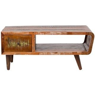 Handmade Wanderloot Tulsa Round Reclaimed Wood End Table with Hairpin Legs (India) - Free Shipping Today - Overstock.com - 18726316