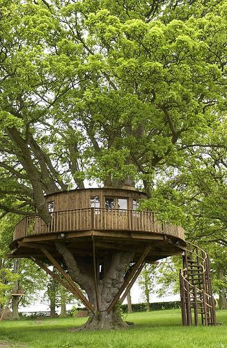 Large circular shaped treehouse with spacious interior. Photo by Treehousecompany via flickr