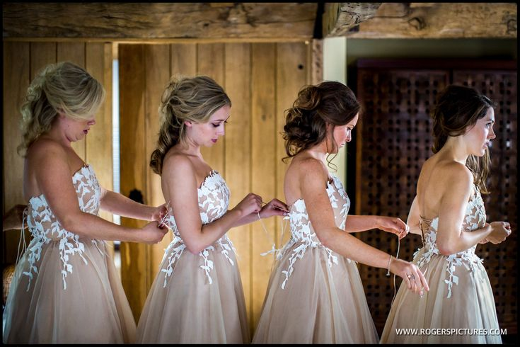 Bridesmaids in the bridal suite at Wasing Park in Berkshire