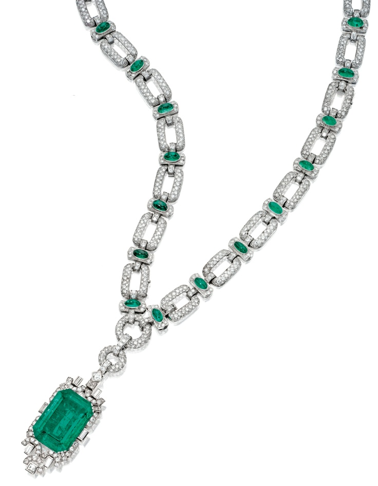 garrad jewelry platinum emerald necklace bracelet brooch 3820