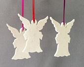Рождественский Ангел украшения - три белый фарфор Рождество Snow Angel Украшения большой современный праздник украшения Ангел