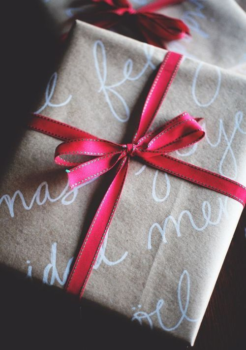 Gift Wrapping With Script on Brown Paper