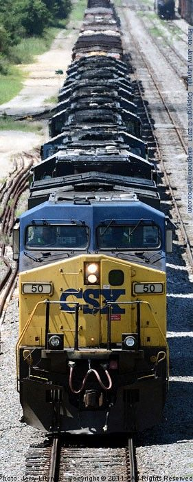 A view from the Fairfield overpass, CSX Engine No. 50 in the lead with ten CSX engines following