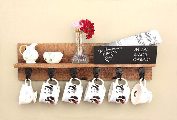 Coffee Mug Rack, Coffee Mug Holder with Shelf, Mail Slot, Chalkboard & 6 Hooks