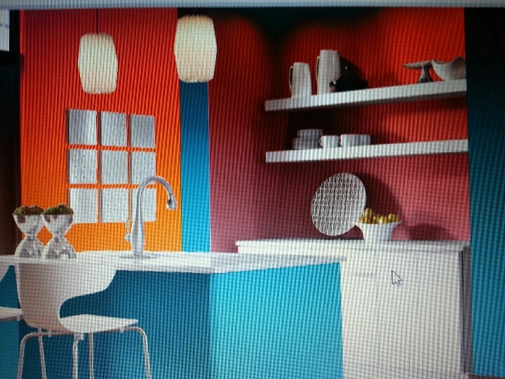 Split Complementary Room the colors used in this room are blue green, orange and red. the