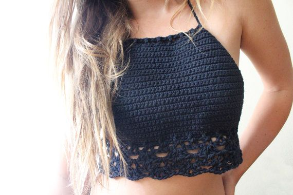 Hand Crocheted Gypsy Classic Cotton Halter Top by JayblueHandmade