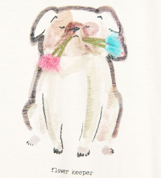 Imagem 4 de ANIMAL PRINT T-SHIRT WITH POMPOMS AND FRINGING da Zara
