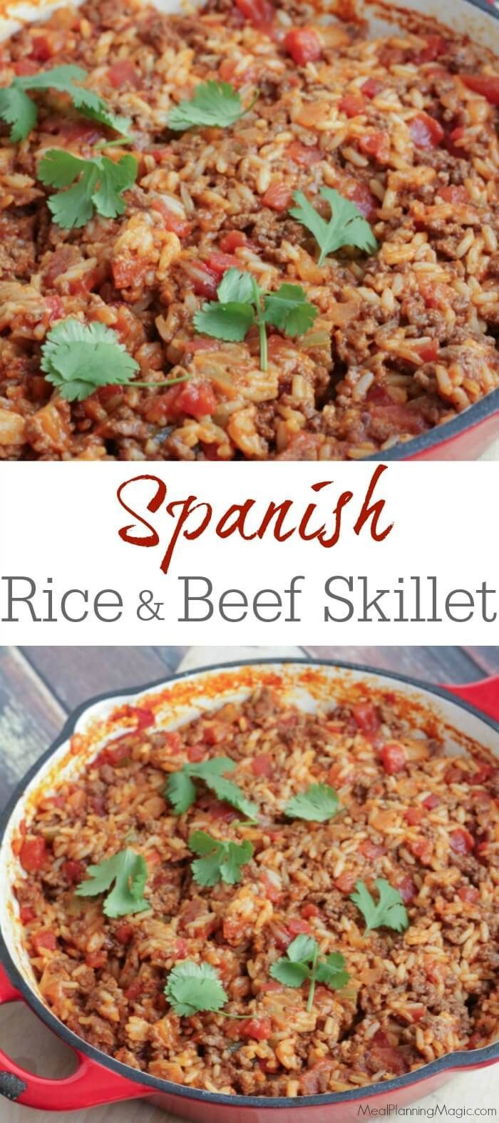 30 minutes is all it takes for this easy, filling Spanish Rice and Beef Skillet Dinner. #SundaySupper  GET THE RECIPE HERE: http://www.mealplanningmagic.com/spanish-rice-and-beef-skillet-dish/