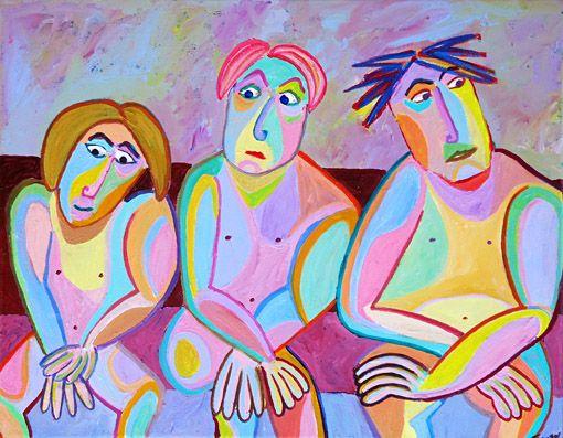Schilderij Sauna van Twan de Vos, 3 vrienden in de Sauna