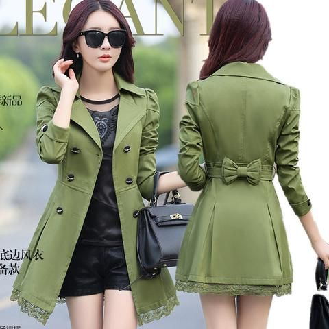 Double Button Bow Trench Coat