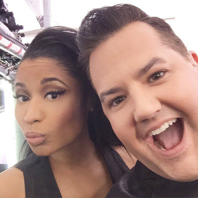 Pin for Later: Stars Take You Inside Grammys Weekend With Their Candid Photos  Nicki Minaj stopped to take a selfie on the red carpet.