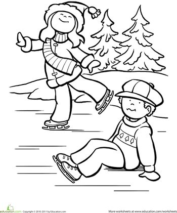 Worksheets: Ice Skating Coloring Page