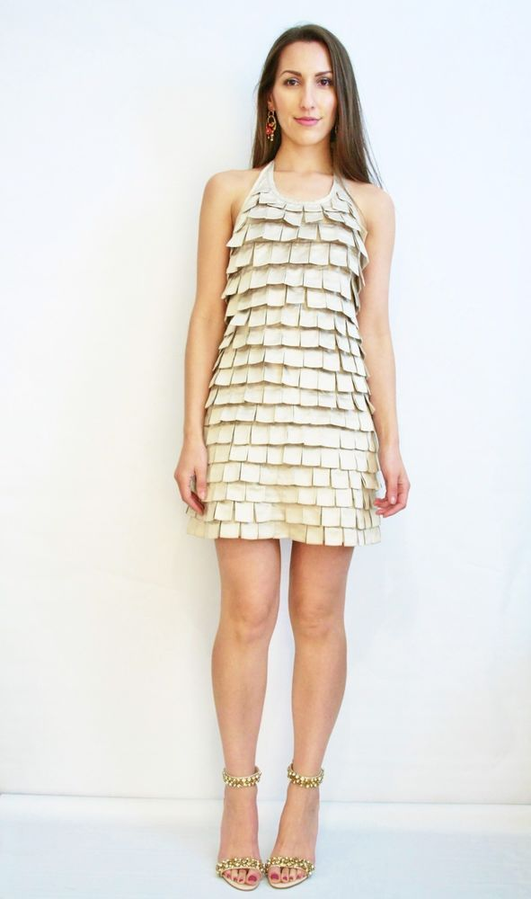 Champagne Layer Dress Halter Cocktail Formal Wedding Party New Years Frock Sz 10  | eBay