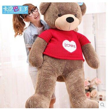 Чучела животных 130 см любит бурый медведь плюшевые игрушки милый красный свитер плюшевый медведь throw подушка кукла медведя подарок w3716