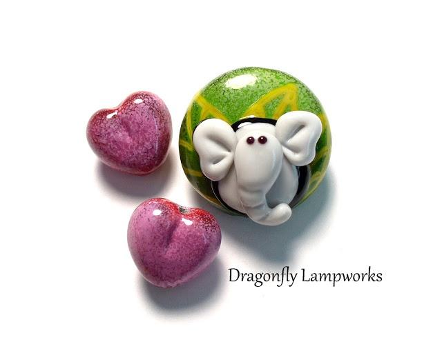 valentine safari by heather sellers elephant u0026 heart themed enamel lampwork glass beads enjoy