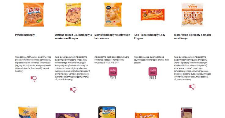 Czytamy skład i porównujemy etykiety produktów Biszkopty. Zobacz skład i polecane produkty przez Czytaj Skład