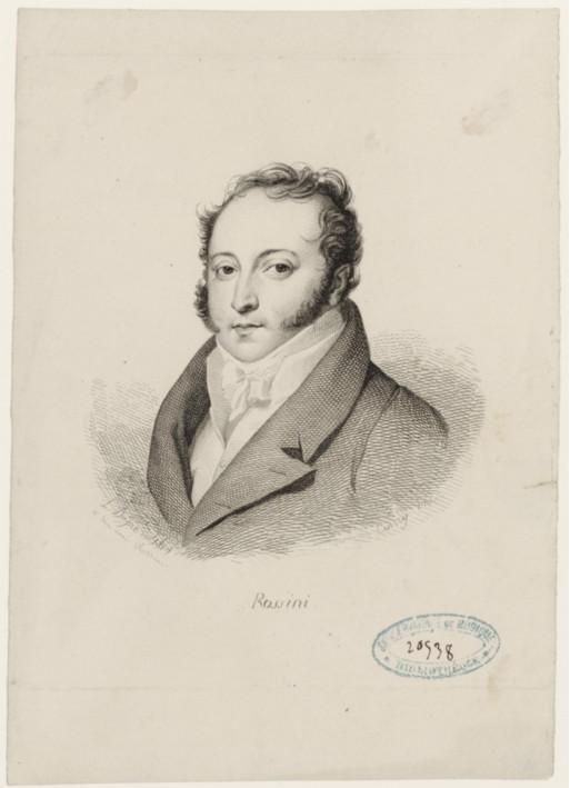 Gioacchino Rossini (1792-1868), engraving (1820), by Joseph Coiny (1795-1829), after a drawing (1819), by Louis Dupré (1789-1837).