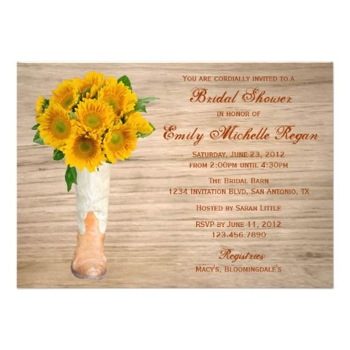Country Rustic Boots and Sunflowers Bridal Shower Custom Invitations Announcements