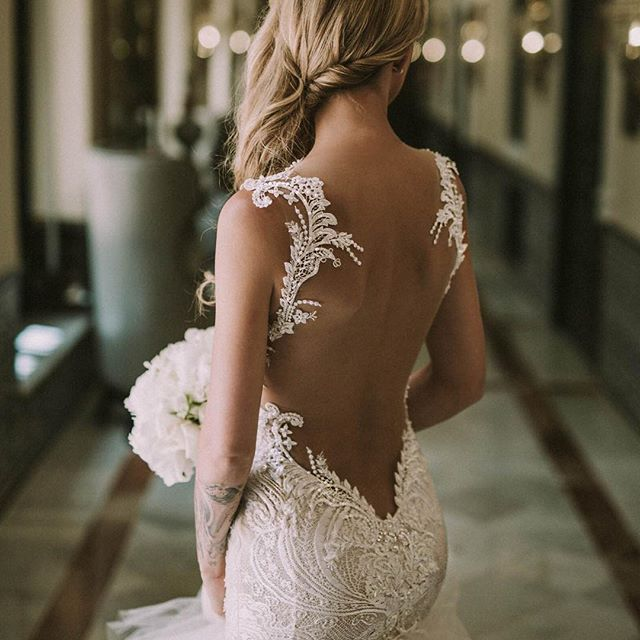What a #beauty of a #bride, @babyatoutprix in #GaliaLahav's #Loretta. The bodice of the dress is made of crochet #ivory #lace and decorated with an embroidered #antique #lace. #GLthrowback