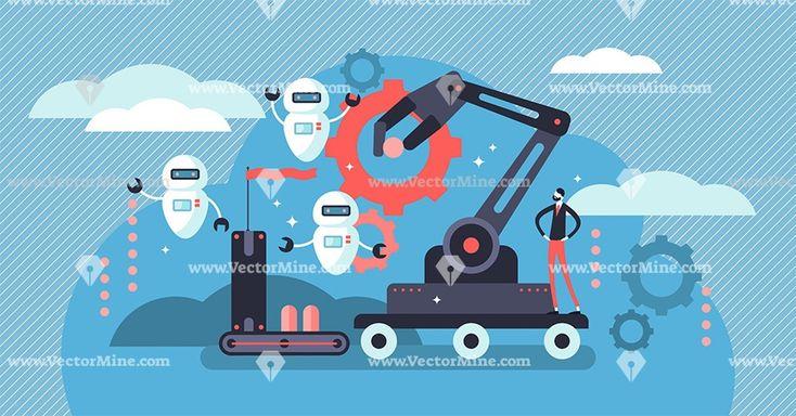 Robotics concept, flat tiny persons vector illustration