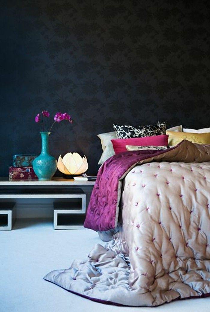 Chantemur Papier Peint, Papier Peint Design Guild Pour La Chambre A Coucher  Avec Murs Noirs